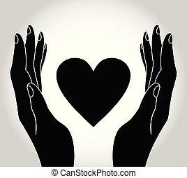 hjärta, teckning, räcker