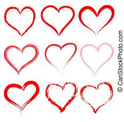 hjärta, valentinkort, valentinbrev, vektor, hjärtan, dag, röd