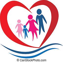 hjärta, vektor, familj, logo