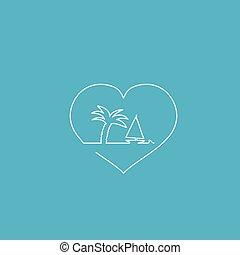 hjärta, vektor, illustration.