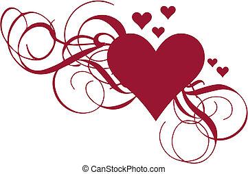 hjärta, vektor, virvlar