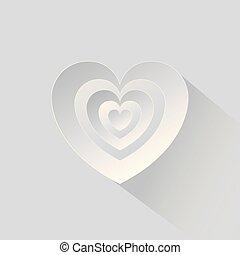 hjärta, vit, papper, bakgrund