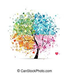 hjärtan, kryddar, -, sommar, din, träd, fyra, höst, konst, winter., fjäder, gjord, design