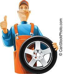 hjul, bil mekaniker