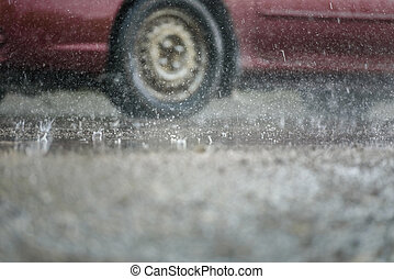 hjul, bil, pöl, kör, regna, genom