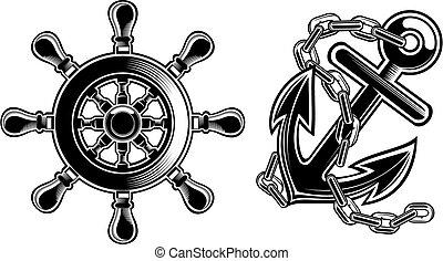 hjul, skepp, styrning, ankare