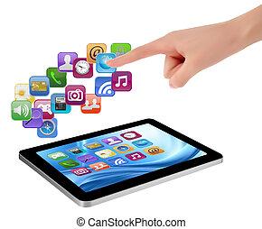 holdingen, den er, avskärma, icons., hand, pc, rörande, vaddera, finger, vector., toucha