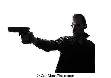 holdingen, silhuett, man, stående, en, caucasian, gevär