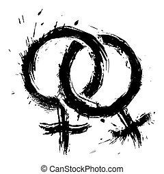homosexuell, kärlek, womans