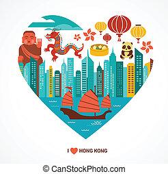 hong, kärlek, illustration, kong, vektor, bakgrund