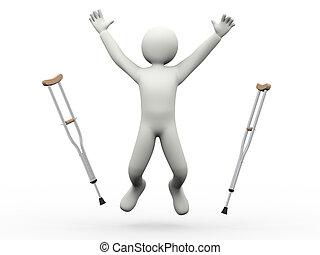 hoppning, kryckor, 3, man, kastande, lycklig