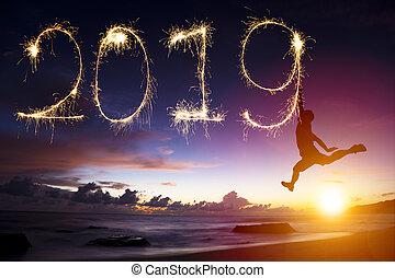 hoppning, man, år, färsk, 2019., strand, teckning, lycklig
