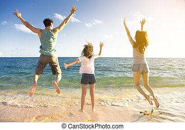 hoppning, strand, familj, lycklig