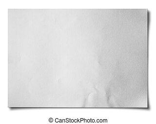 horisontal, papper, vit, skrynkligt