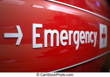 hospital., underteckna, nödläge