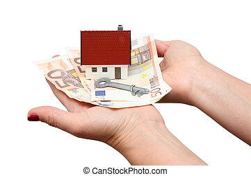 hus, över, isolerat, nyckel, pengar, vit