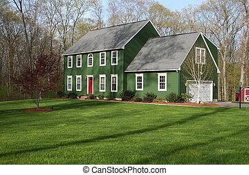 hus, 2, grön