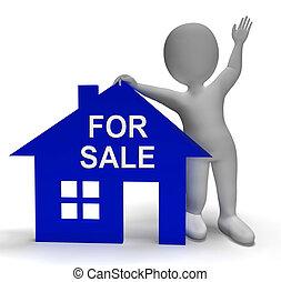 hus, egenskap, försäljning, marknaden, visar