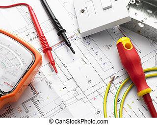hus, elektrisk, planer, utrustning