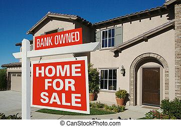 hus, försäljning, owned, underteckna, färsk, främre del, hem, bank