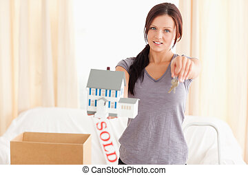 hus facit, holdingen, modell, kvinna, ung