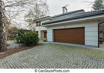 hus, fristående, nymodig, garage