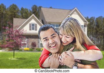 hus, krama koppla, blandad kapplöpning, främre del