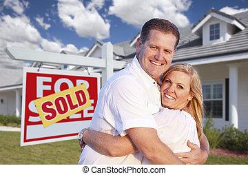 hus, krama koppla, underteckna, främre del, såld