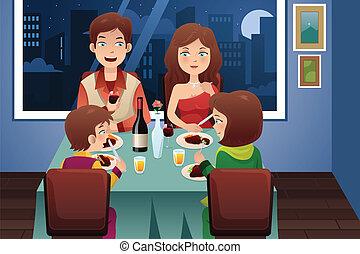 hus, middag, nymodig, ha, familj