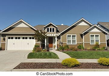 hus, privat väg, familj, två, singel, berättelse