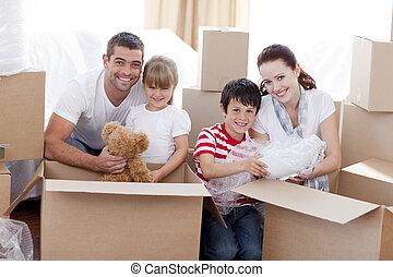 hus, rutor, gripande, leka, familj
