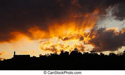 hus, solnedgång, silouette