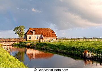 hus, solsken, flod, soluppgång, förtjusande