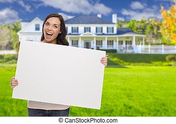 hus, underteckna, blandad kapplöpning, kvinnlig, tom, främre del