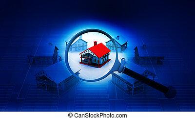 hus, verklig, leta, begrepp, egendom
