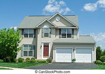 hus, vinyl, främre del, ensam släkt, md, hem, växelspår