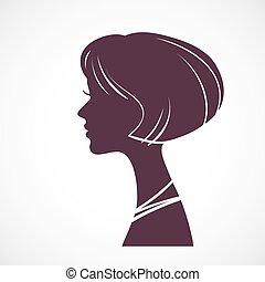 huvud, flicka, silhuett