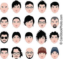 huvud, frisyr, ansikte, hår, manlig, man