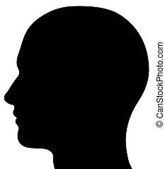 huvud, manlig, silhuett
