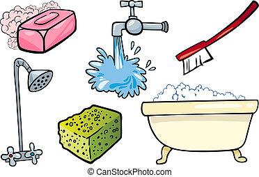 hygien, objekt, sätta, tecknad film, illustration
