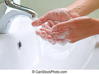 hygien, tvagning, rensning, hands.