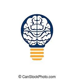 idé, lätt, hjärna, icon., vektor, lök, skapande