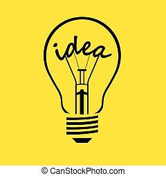 idé, -, vektor, lök, lätt