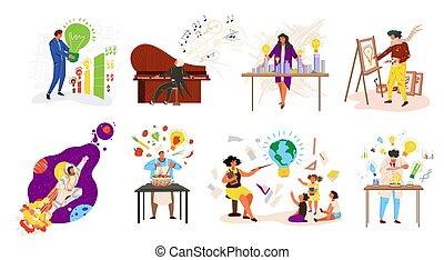 idéer, folks, vektor, jobb, arbete, sätta, ockupationerna, lärare, professionell, illustration., professionsen, affärsman, musiker, isolerat, kock