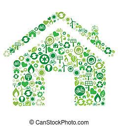 ikon, hus, grön
