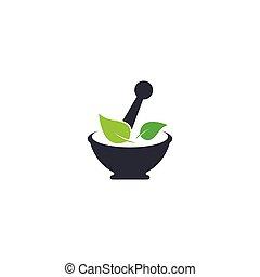 ikon, logo, ört medicin, vektor