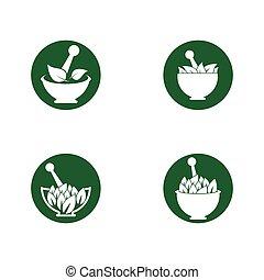 ikon, medicin, logo, mall, herbal, vektor