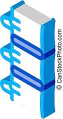 ikon, rygg, illustration, isometric, mänsklig, vektor