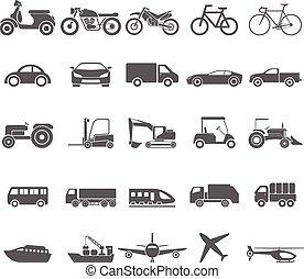 ikon, transport, vektor, set.