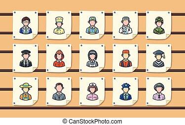 ikonen, folk, sätta, ockupationerna, eps10
